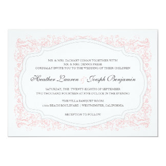 Invitación rosada del vintage y gris adornada del