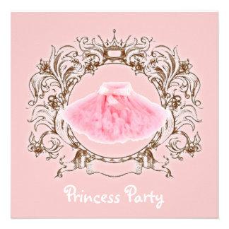 Invitación rosada dulce de la fiesta de la princes