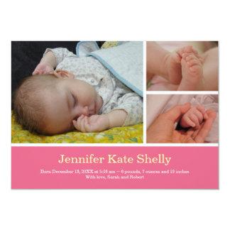 Invitación rosada dulce del nacimiento del bebé de