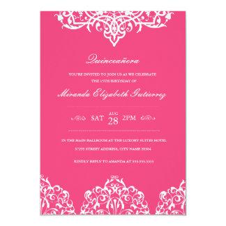 Invitación rosada elegante de Quinceañera
