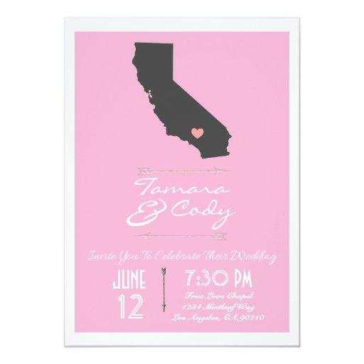 Invitación rosada elegante del boda de California