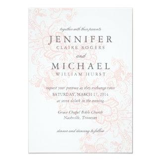 Invitación rosada elegante del boda del cordón