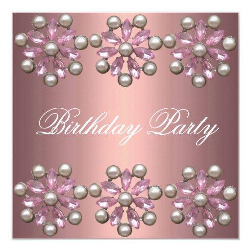 Invitación rosada elegante del cumpleaños de la