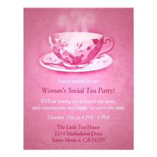 Invitación rosada encantadora de la fiesta del té