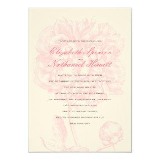 Invitación rosada enorme del boda del Peony