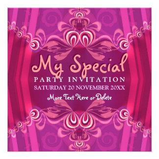 Invitación rosada exótica del fiesta del gabinete