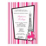 invitación rosada femenina de la fiesta de bienven