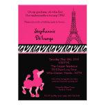 invitación rosada femenina del cumpleaños de París