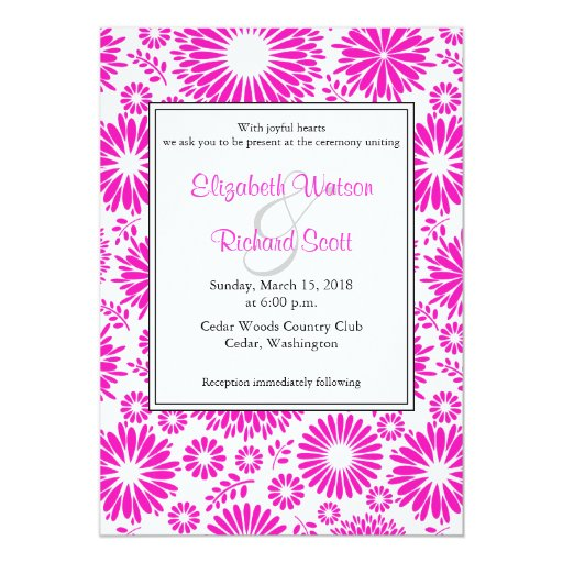 Invitación rosada floral del boda del vintage