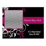 invitación rosada fucsia elegante de la graduación postales