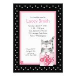 Invitación rosada gris linda del cumpleaños del ga