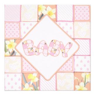 Invitación rosada linda de la ducha de la niña del