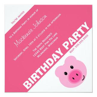 Invitación rosada linda de la fiesta de cumpleaños invitación 13,3 cm x 13,3cm