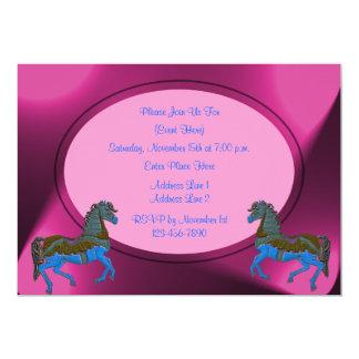 Invitación rosada linda de los caballos del
