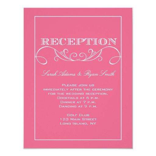 Invitación rosada moderna de la recepción del