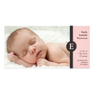 Invitación rosada moderna Photocard del nacimiento Tarjeta Fotografica
