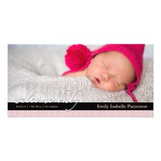 Invitación rosada Photocard del nacimiento del beb Tarjetas Fotográficas