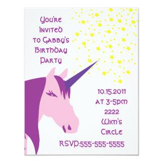 Invitación rosada/púrpura del cumpleaños del invitación 10,8 x 13,9 cm