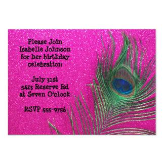 Invitación rosada reluciente del cumpleaños del