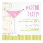 Invitación rosada retra del cóctel de Martini