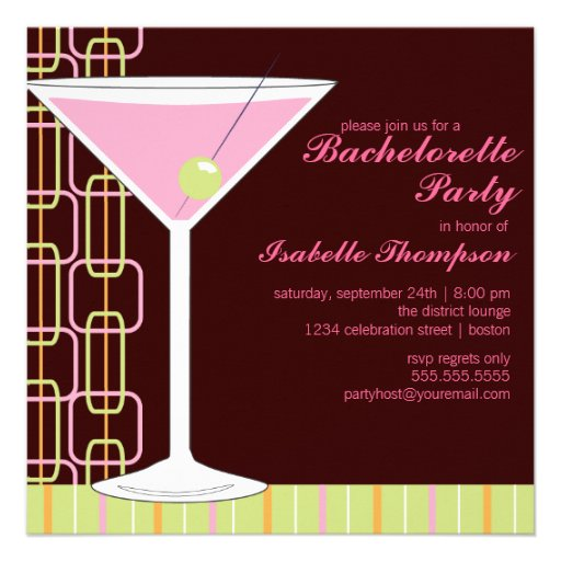 Invitación rosada retra del fiesta de Martini Bach
