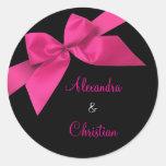 Invitación rosada RSVP de la invitación del boda d Pegatina Redonda