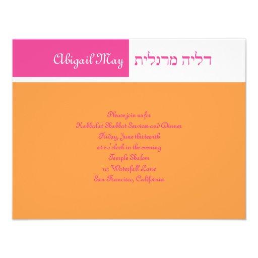 Invitación rosada RSVP de Mitzvah del palo anaranj