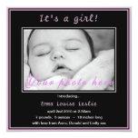 Invitación rosada simple de la foto de la niña invitación 13,3 cm x 13,3cm