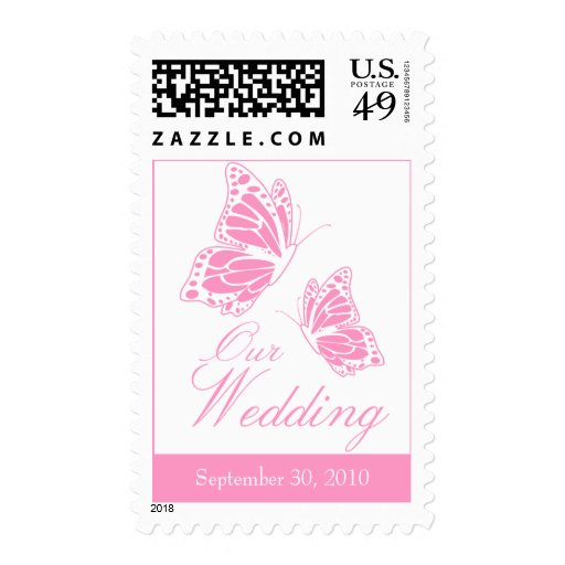 Invitación rosada simple del boda de la mariposa envio