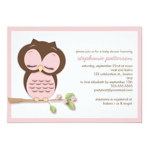Invitación rosada soñolienta dulce de la fiesta de
