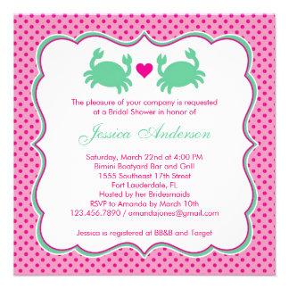 Invitación rosada/verde de la ducha nupcial de los