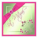 Invitación rosada, verde, y amarilla de Mitzvah