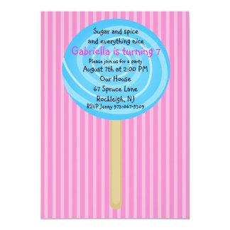 Invitación rosada y azul del cumpleaños de los