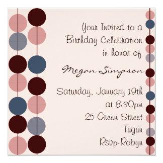 Invitación rosada y azul del cumpleaños del diseño