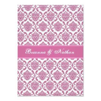 Invitación rosada y blanca del boda del damasco invitación 11,4 x 15,8 cm