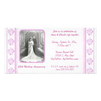 Invitación rosada y blanca del fiesta de Paisley d Tarjetas Fotograficas Personalizadas