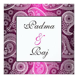 Invitación rosada y blanca del reflejo de Paisley Invitación 13,3 Cm X 13,3cm