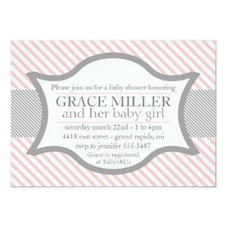 Invitación rosada y gris de la fiesta de invitación 12,7 x 17,8 cm