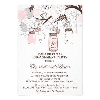Invitación rosada y gris del fiesta de compromiso invitación 12,7 x 17,8 cm