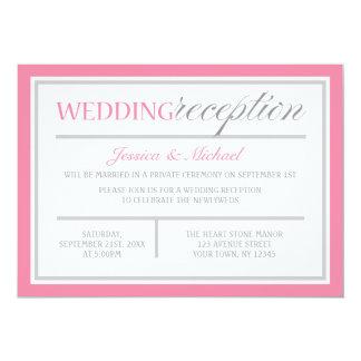 Invitación rosada y gris moderna de la recepción invitación 12,7 x 17,8 cm
