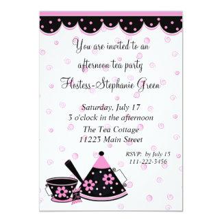 Invitación rosada y negra de la fiesta del té