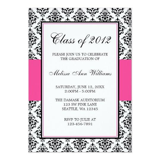 Invitación rosada y negra de la graduación del