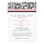 Invitación rosada y negra del boda