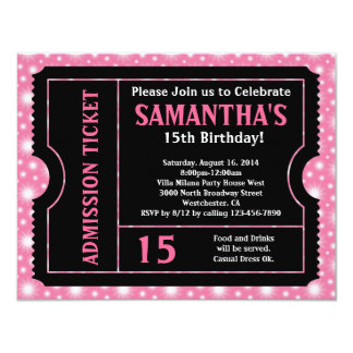 Invitación rosada y negra del boleto, cualquier invitación 10,8 x 13,9 cm