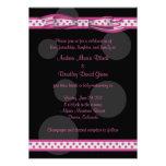 Invitación rosada y negra del personalizable de lo