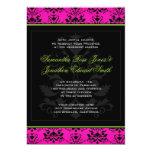 Invitación rosada y negra verde del boda del