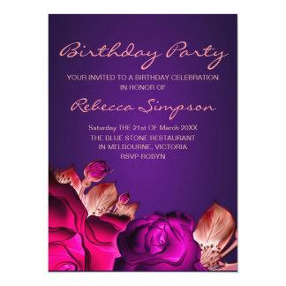 Invitación rosada y púrpura del cumpleaños de la