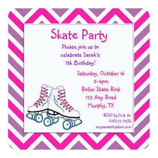Invitación rosada y púrpura del cumpleaños del