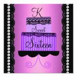 Invitación rosada y púrpura del dulce dieciséis
