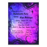 Invitación rosada y púrpura del fiesta de Bachelor